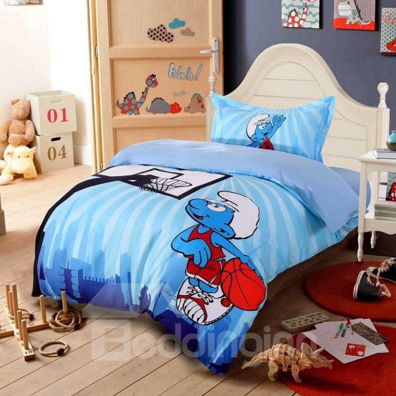 Twin Smurf Basketball Bedding Set, 1 Duvet, 1 Flat Sheet and Pillowcase
