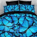 3d Blue Butterflies Zipper 4pcs Durable Bedding Sets No Fading Soft Reactive Printing Blue Duvet Cover With Ties Beddinginn Com