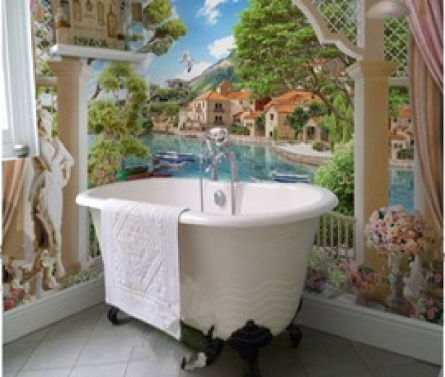 House By The Riverside Natural Scenery Pattern Waterproof D Bathroom Wall Murals