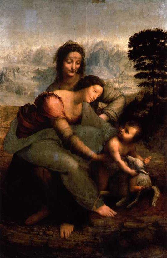 Virgin and child with St Anne by Loenardo da Vinci 1508-10
