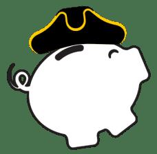 Cartoon piggy bank with Patriot hat