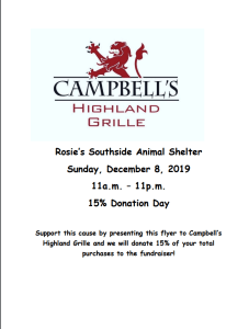 Dine to donate at Cambell's Highland Girille