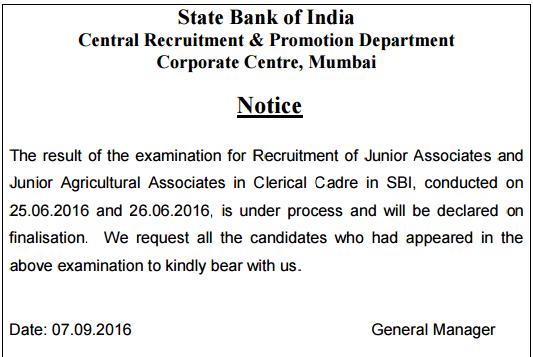 Notification regarding the result of SBI Clerk Exam 2016