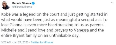 barrack obama tweet about kobe bryant death