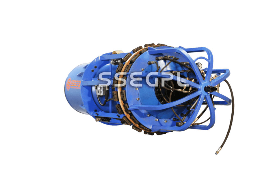 Pneumatic internal lineup clamp copper backup