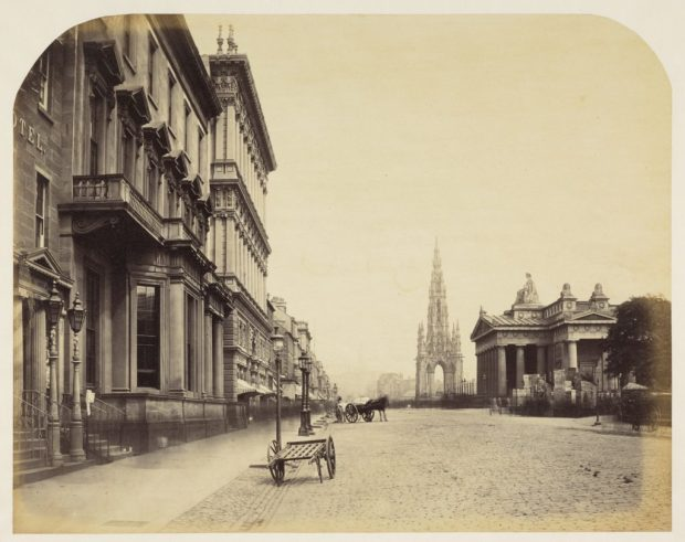 The Scott Monument and the Royal Institution (now the Royal Scottish Academy)