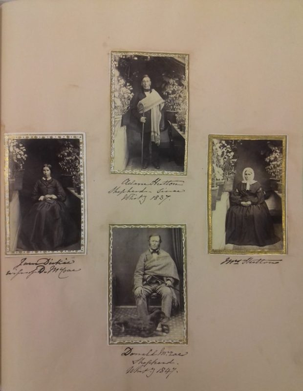 Page from the 'Duchess of Gordon' photograph album with photographs of shepherds Adam Hutton (top) and Donald McRae, along with their wives Mrs Hutton (right) and Jane Dickies