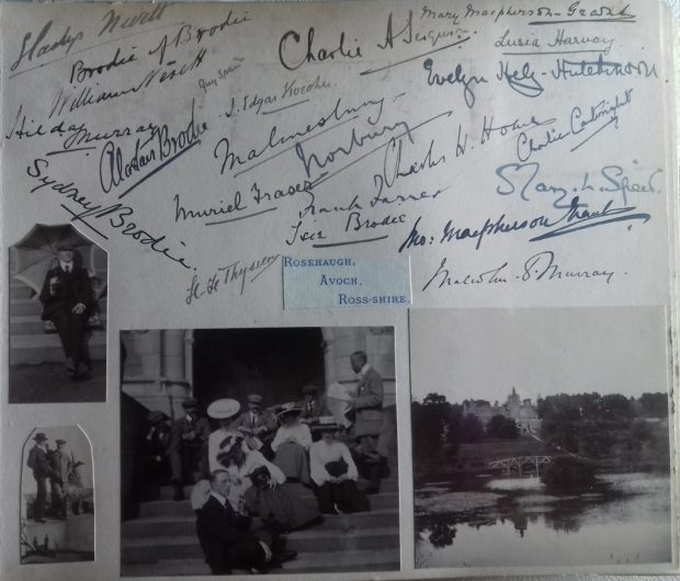 Page from Violet May Hope's 1903 autograph book, with photographs and signatures from a trip to Rosehaugh Castle, Brodie Castle