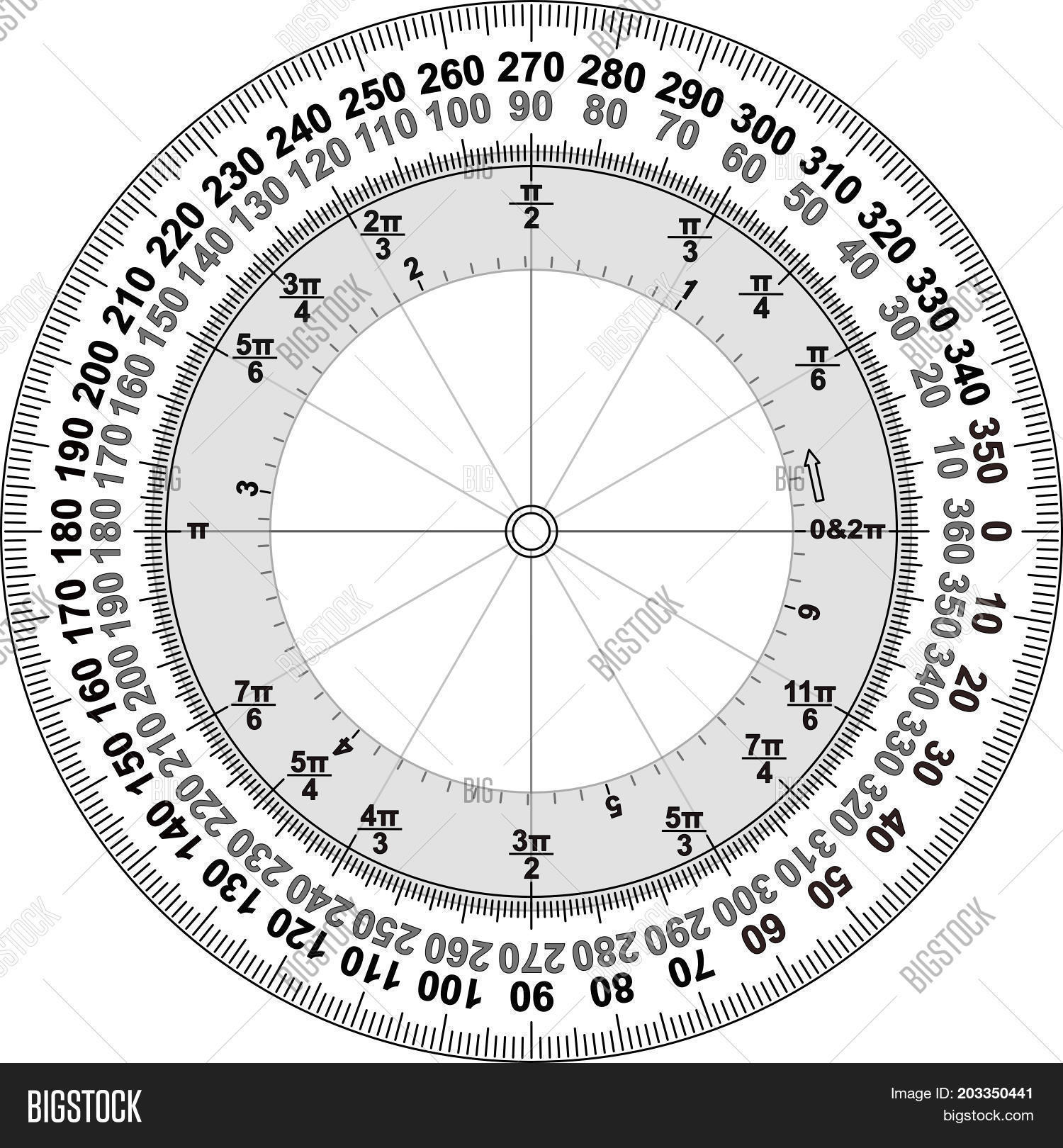 A 360 Degree Protractor Showin