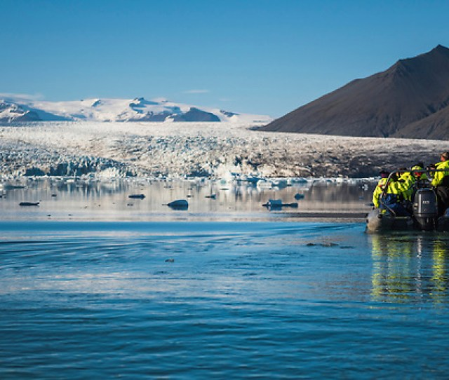Zodiac Boat Tour Of Jokulsarlon Glacier Lagoon A Glacial Lake Filled With Icebergs In South