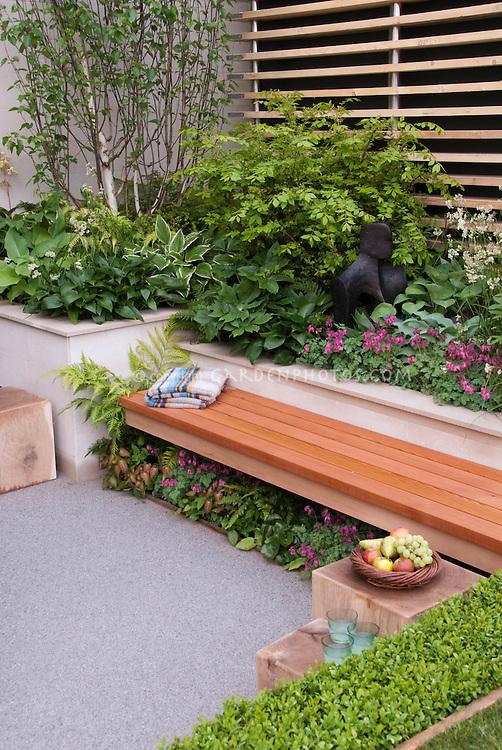 Garden Bench With Blanket Plant Amp Flower Stock
