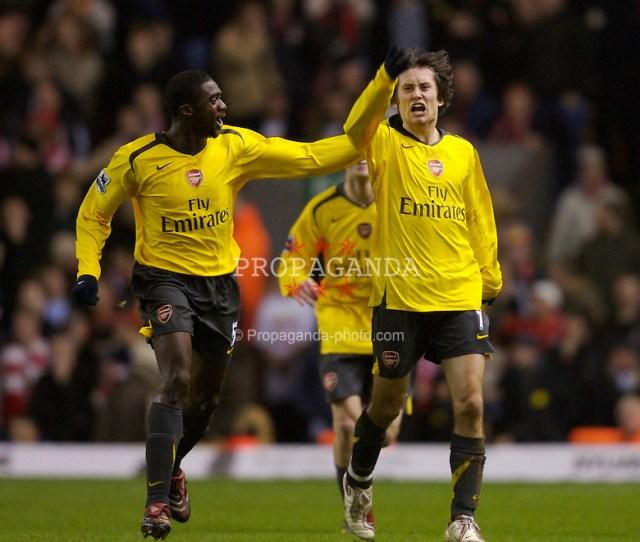 Liverpool England Saturday January   Arsenals Tomas Rosicky Celebrates Scoring
