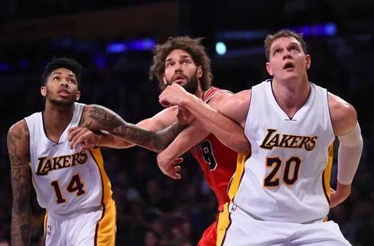Brandon Ingram #14 and Timofey Mozgov #20, Chicago Bulls at Los Angeles Lakers