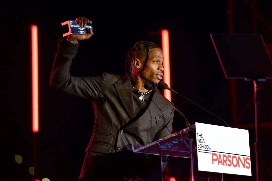 Travis Scott speaks onstage during The 72nd Annual Parsons Benefit at Pier 17 on June 15, 2021 in New York City.