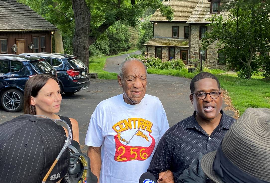 Attorney Jennifer Bonjean, Bill Cosby, and spokesperson Andrew Wyatt speak outside of Bill Cosby's home on June 30, 2021 in Cheltenham, Pennsylvania. Bill Cosby was released from prison after court overturns his sex assault conviction.