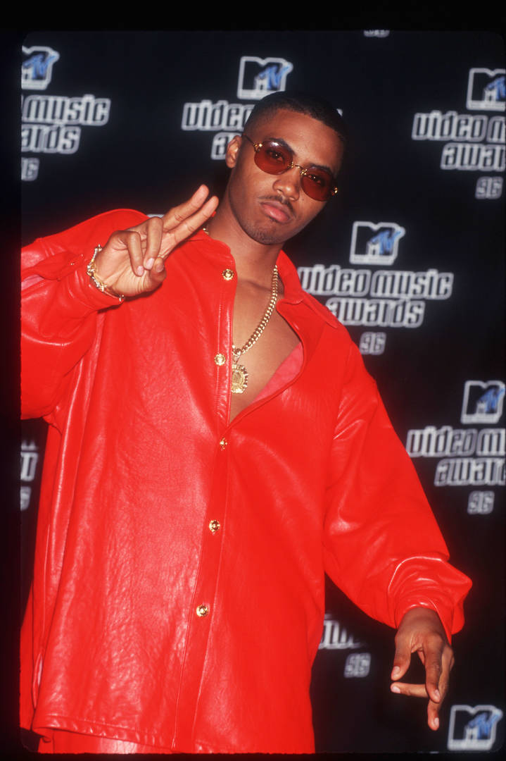 Rapper Nas stands backstage at the MTV Video Music Awards September 4, 1996 in New York City. The awards honored music videos produced by popular artists such as Smashing Pumpkins, Metallica and Alanis Morissette.