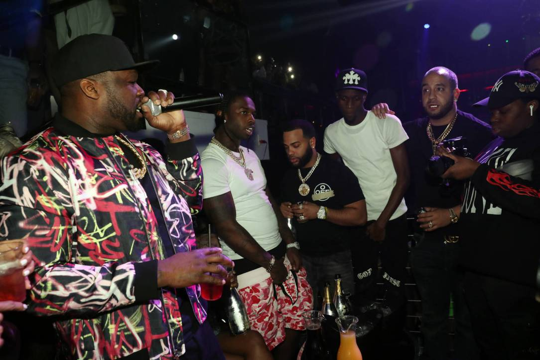 50 Cent and Pop Smoke appear onstage at Trey Songz & 50 Cent Host The Big Game Weekend 2020 at Cameo on February 01, 2020 in Miami, Florida.