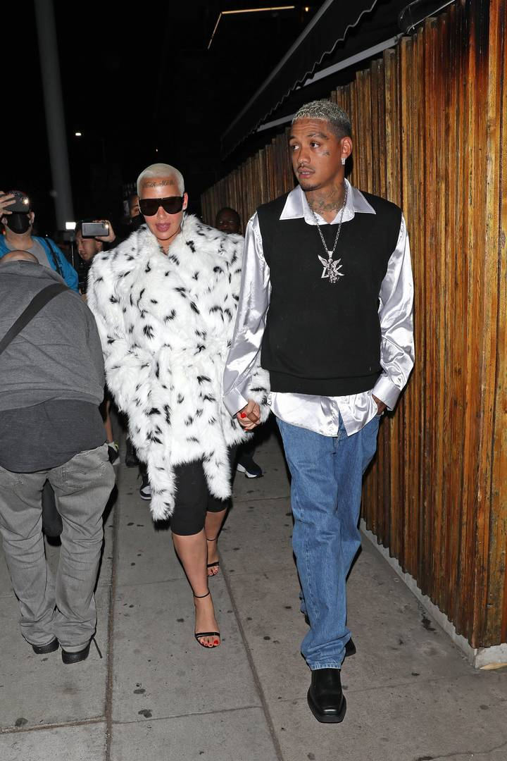 Amber Rose and Alexander Edwards are seen at The Nice Guy on April 9, 2021 in Los Angeles, California.