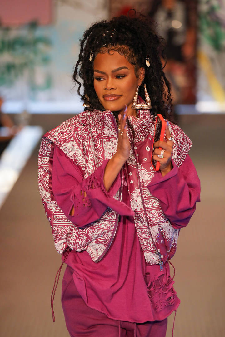 Teyana Taylor walks the runway for PrettyLittleThing: Teyana Taylor Collection II New York Fashion Week on September 09, 2021 in New York City.