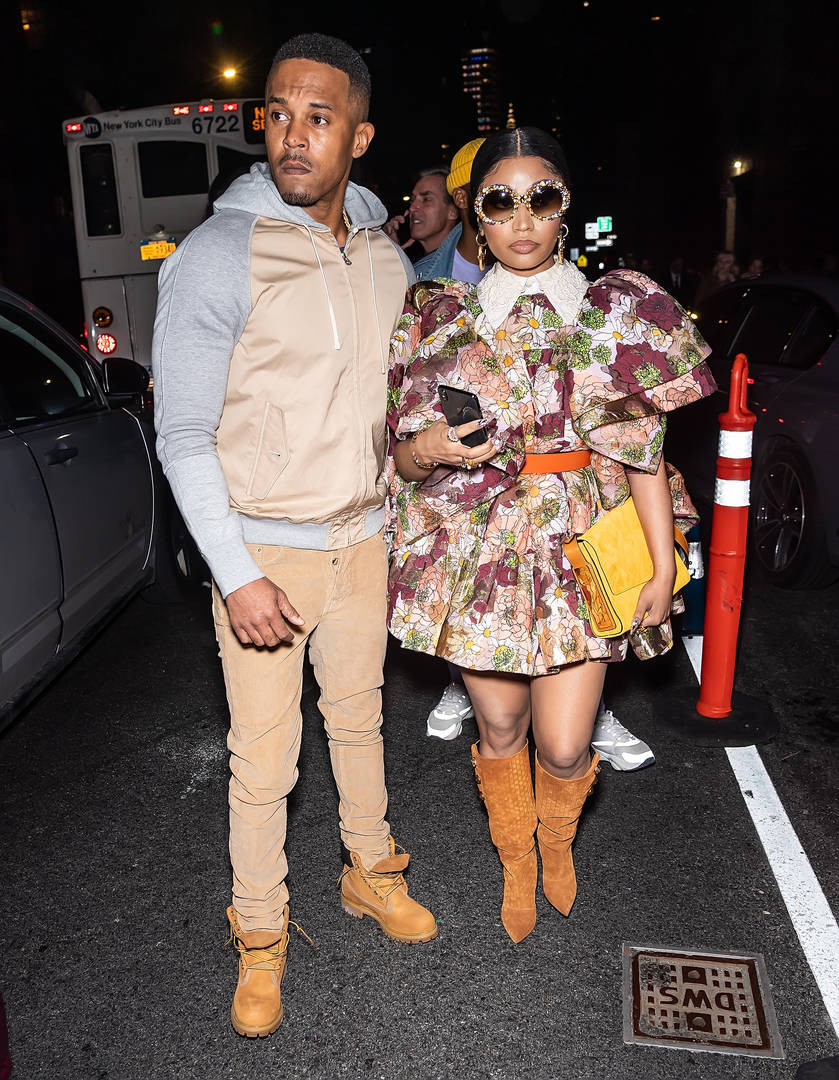 Kenneth Petty and Rapper Nicki Minaj are seen leaving the Marc Jacobs Fall 2020 runway show during New York Fashion Week on February 12, 2020 in New York City.