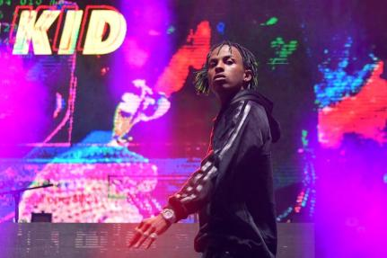 Rich the Kid performs onstage during adidas Creates 747 Warehouse St., an event in basketball culture, on February 16, 2018 in Los Angeles, California.