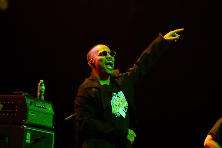 American singer Anderson Paak performs at Barclays Center of Brooklyn on August 1, 2017 in the Brooklyn borough of New York City.