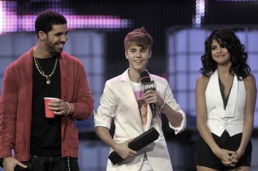 Drake, Justin Bieber and Selena Gomez on stage at the 22nd Annual MuchMusic Video Awards at the MuchMusic HQ on June 19, 2011 in Toronto, Canada.