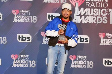 Chance the Rapper, recipient of the Innovator Award, poses in the press room during the 2018 iHeartRadio Music Awards which broadcasted live on TBS, TNT, and truTV at The Forum on March 11, 2018 in Inglewood, California.