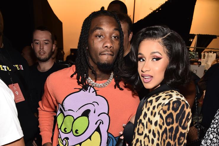 f88e7be8237 Offset and Cardi B pose backstage at the Jeremy Scott show during New York  Fashion Week