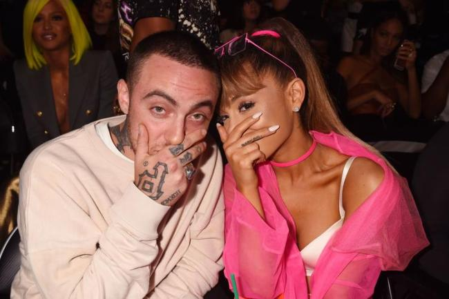 Mac Miller and singer Ariana Grande pose backstage during the 2016 MTV Video Music Awards at Madison Square Garden on August 28, 2016 in New York City