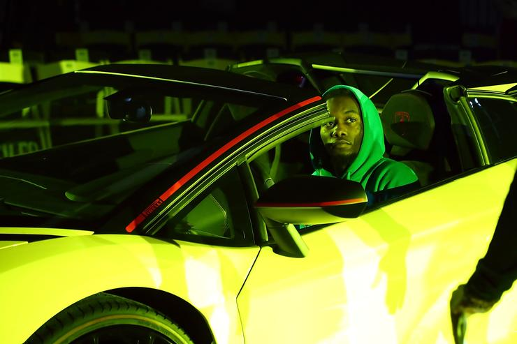 Offset, from the rap group Migos, drives a yellow Lamborghini during rehearsal for the VFILES show during New York Fashion Week at Barclays Center of Brooklyn on September 6, 2017 in New York City