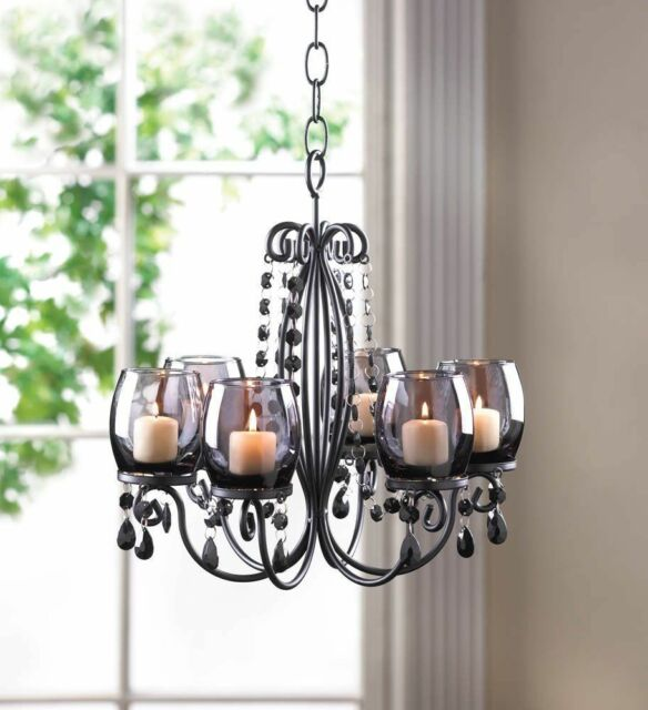 Candle Chandelier Hanging Votive Light Backyard Outdoor Patio Deck Gazebo Glass