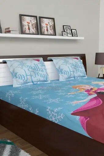 kids essential frozen print double bed sheet with 2 pillow covers