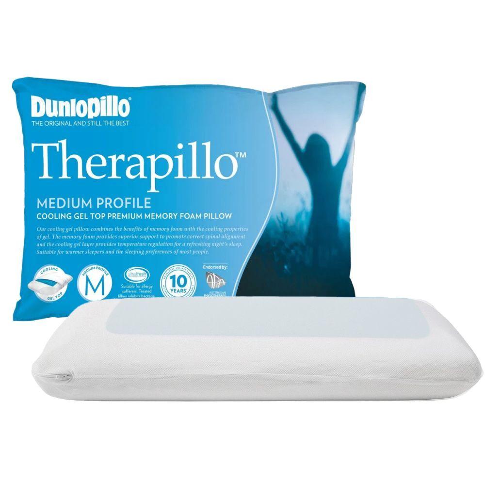 dunlopillo therapillo premium memory foam cooling gel pillow medium profile