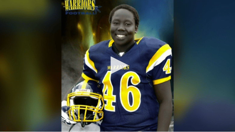 Late Manyok Akol playing number 46 for the Bell Warriors in Ottawa, Canada....