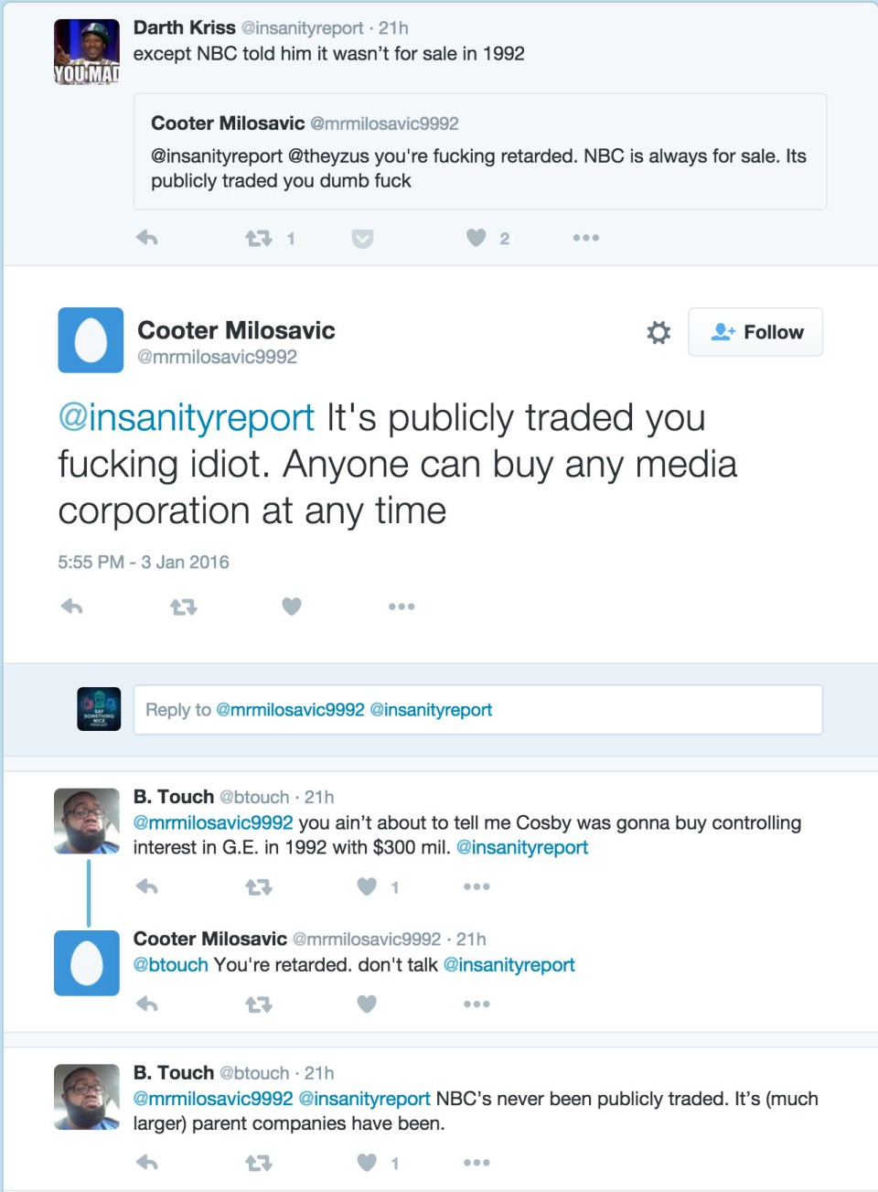Screenshot of tweets about Bill Cosby/NBC discussion