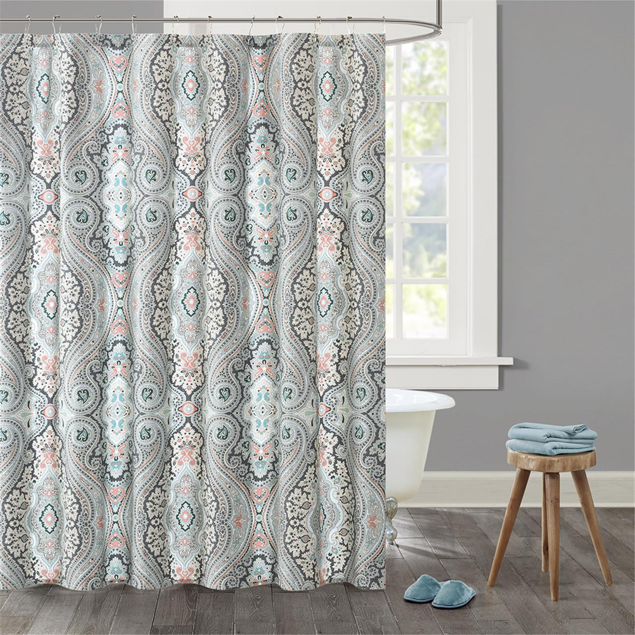 Echo Design Sterling Cotton Printed Shower Curtain Deep