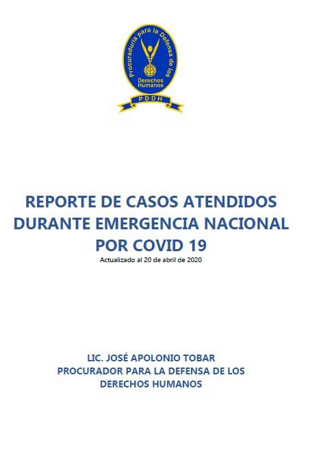 Reporte de Casos PDDH por COVID-19