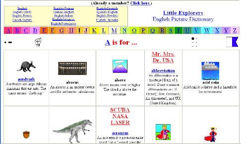 Little Explorers Pictionary Dictionary 網上圖畫字典 | 深水埔街坊福利會小學圖書館