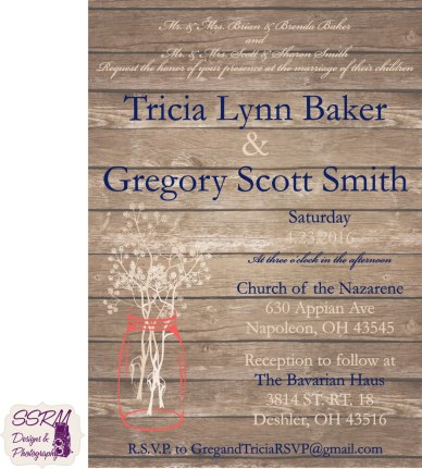 Tricia Baker & Gregory Smith Wedding Invitations