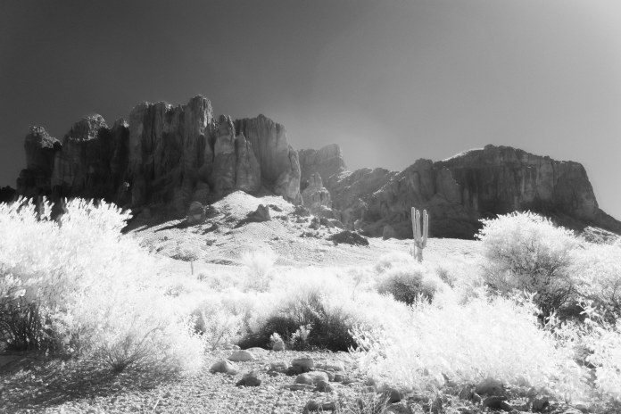 I shot some new infrared of the Superstition Mountains. The problem with IR is that it's best shot in broad daylight, which means being out in the hottest, worst part of the day, with all the tourists who for some reason are always out in the hottest, worst part of the day.