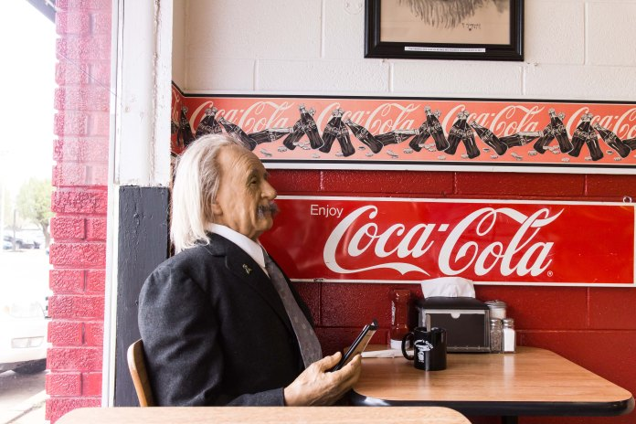 Albert Einstein just chilling as Wesner's Diner.
