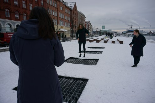 Trampolines in the sidewalk!