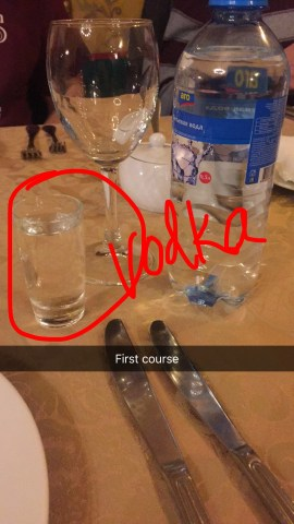vodka with the first course, only one bottle of water!