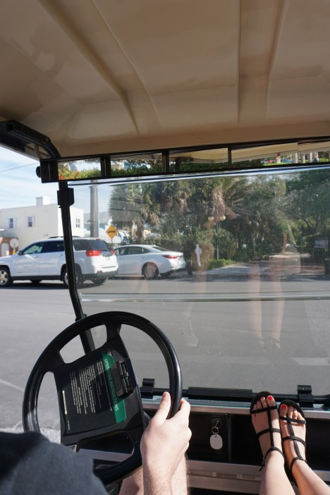 Driving in the cart on BG! <3