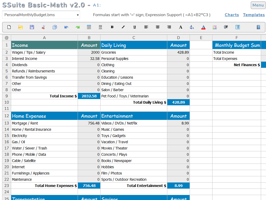 Basic Math Spreadsheet Free Online Spreadsheet Web App