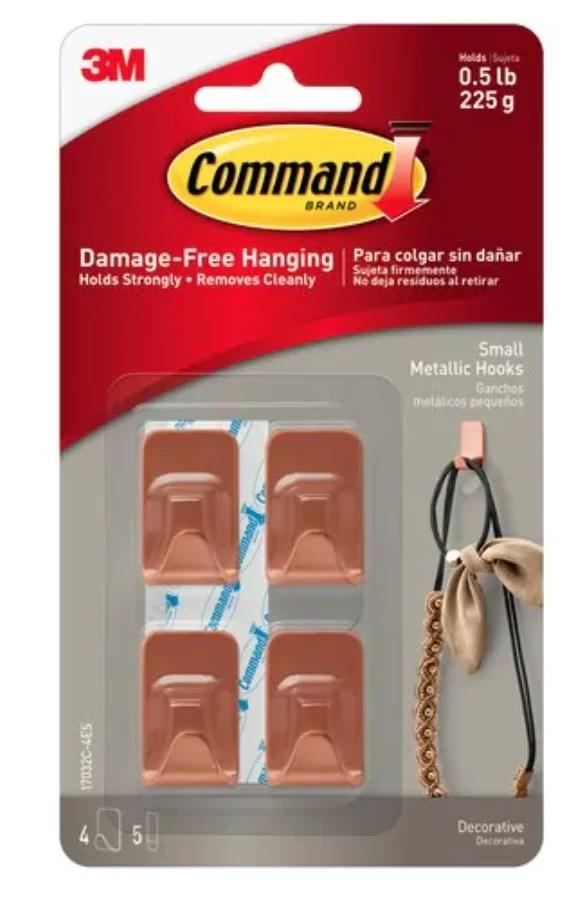 Command™ Small Metallic Hook, Copper Colour, 17032C-4ES, 4 Hooks, 5 Strips, UKN