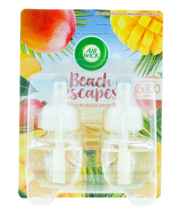 The AirWick Beach Escapes Spray19ml Refill Twin Pack is a lovely smelling air freshener with a fresh Maui Mango scent.