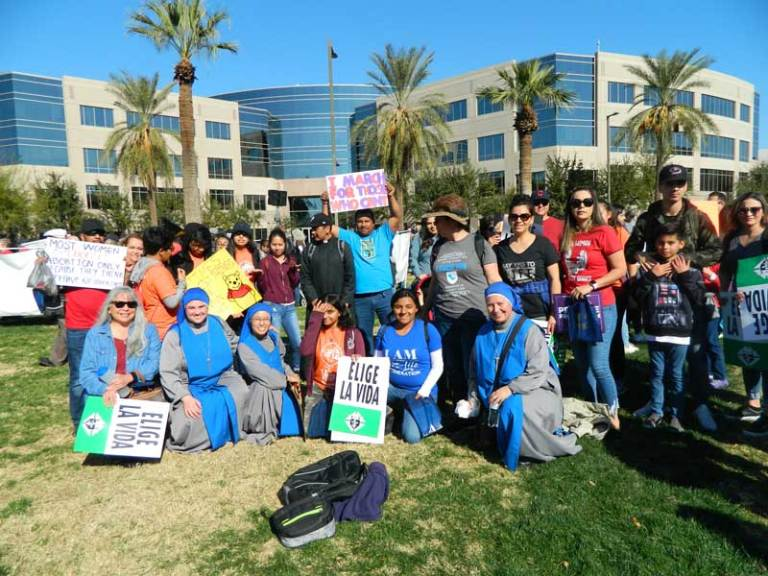Mother Natividad (far right) with youth at a pro-life event in Phoenix.