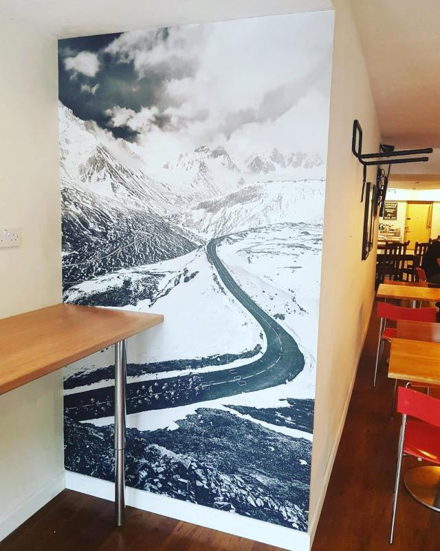 Wall graphic installed for The Bike Cafe in Cardiff